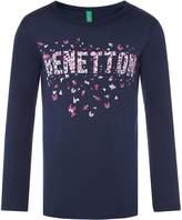 Benetton Girls Logo Sequin T-Shirt