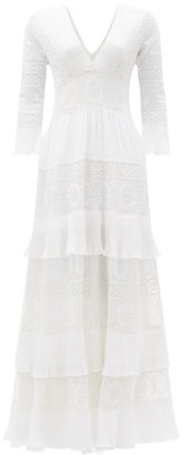 LoveShackFancy Lennon Tiered Macrame-lace Dress - Cream