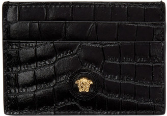 Versace Black Croc Medusa Card Holder