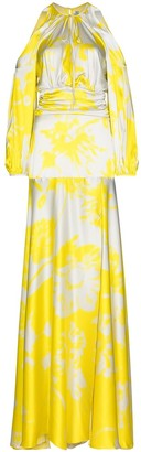 Silvia Tcherassi Cold-Shoulder Floral-Print Maxi Dress