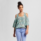Mossimo Women's Cold Shoulder Blouse Green