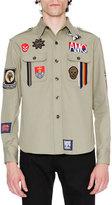 Alexander McQueen Military Shirt-Jacket w/Patches, Beige