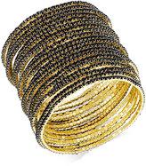 ABS by Allen Schwartz Gold-Tone Set of 20 Black Stretch Bracelets