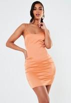 Missguided Coral Stretch Satin Cami Mini Dress