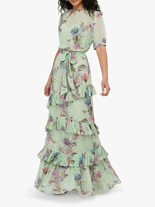 Monsoon Aesha Tiered Floral Maxi Dress, Green