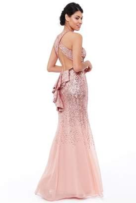 Goddiva Peach Criss Cross Back Sequin Maxi Dress