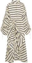 Preen by Thornton Bregazzi Hope Ruched Striped Washed-silk Midi Dress - Ivory