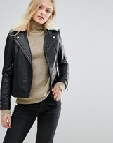 MANGO Borg Collar Leather Biker Jacket
