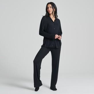Naadam Women's Long Sleeve Tee-Pajama Pant Set Black