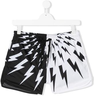 Neil Barrett Kids TEEN thunderbolt colour block swim shorts