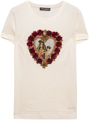 Dolce & Gabbana Embellished Printed Cotton-jersey T-shirt