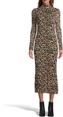 Nicole Miller Long-Sleeve Printed Mesh Midi Dress