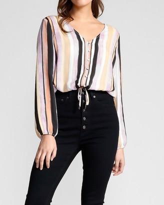 Express Striped Button Front Top