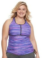 Free Country Plus Size Printed Quarter-Zip Tankini Top