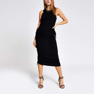 River Island Womens Black ribbed ruched side top