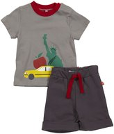 Magnificent Baby 2 Piece NYC Tee & Shorts Set (Baby) - Brown-12 Months