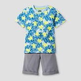 Little Rebels Toddler Boys' Two Piece Set with Henley Top and French Terry Short - Blue