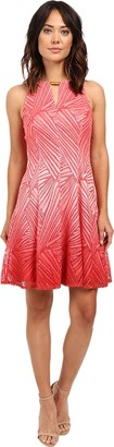 London Times Women's Ombre Palm Lace Fit and Flare with Keyhole Neck Detail