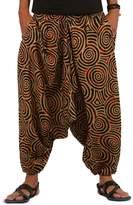 The Harem Studio THS Mens Womens Boho Hippie Baggy Cotton Harem Pants with Pockets- Spiral Design