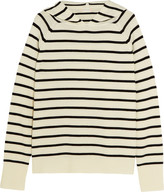 Chinti and Parker Striped Merino Wool Hooded Top - Cream