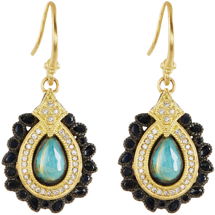 Armenta 18k Turquoise & Quartz Doublet Drop Earrings w/ Diamonds