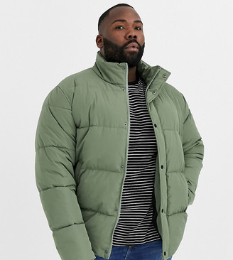 Asos Design DESIGN Plus sustainable puffer jacket in khaki with funnel neck-Green
