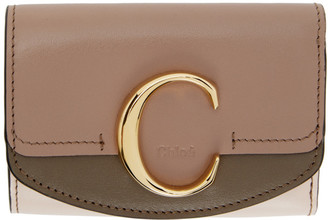 Chloé Pink and Taupe Small C Trifold Wallet