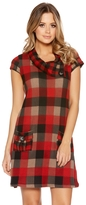 Quiz Red And Black Check Light Knit Button Detail Tunic Dress