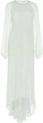 story. White Castiglioni High-Low Silk Evening Dress