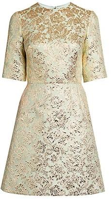 Dolce & Gabbana Brocade Short-Sleeve Mini Dress