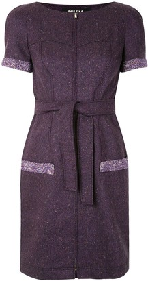 Paule Ka Belted Tweed Mini Dress