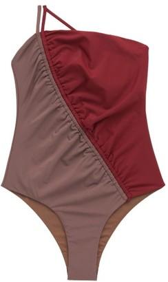 Isa Boulder Leonard Asymmetric Bi-colour Swimsuit - Red Multi