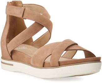 Eileen Fisher Sally Suede Crisscross Sandals