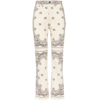 Tory Burch Printed Boot-Cut Denim Pant