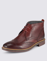 M&s Collection Leather Lace-up Brogue Chukka Boots