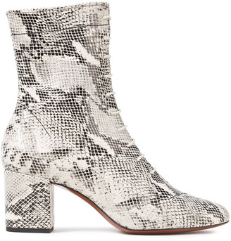 ALEXACHUNG Lace-up Snake-effect Leather Ankle Boots