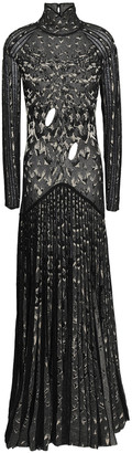 Roberto Cavalli Cutout Pleated Metallic Crochet-knit Gown