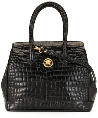 Versace Pre Owned Crocodile-Embossed Tote