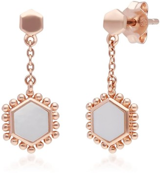 Mother Of Pearl Slice Chain Drop Earrings In Rose Gold Sterling Silver