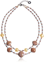 Antica Murrina Veneziana Millerighe 2 Double - Pastel Multicolor Murano Glass w/Stripes and Gold Leaf Choker