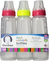 Gerber First Essentials Clearview Bottles with Silicone Nipple in Green and Pink, 9-Ounce, 9 Count by Graduates