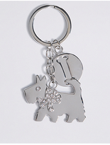 M&S Collection Diamanté Dog Keyring