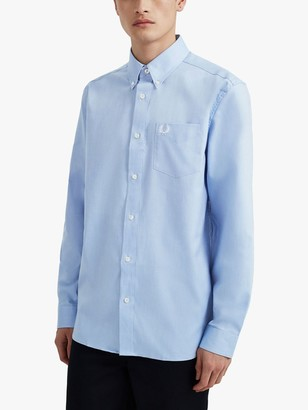Fred Perry Classic Oxford Long Sleeve Shirt, Light Smoke