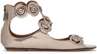 Alaia Cutout Mirrored-leather Sandals