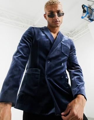 Asos Design DESIGN skinny velvet double breasted tuxedo blazer in navy