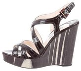 Prada Patent Leather Crossover Wedges