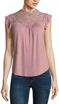 Self Esteem Sleeveless Mock Neck Knit Blouse-Juniors