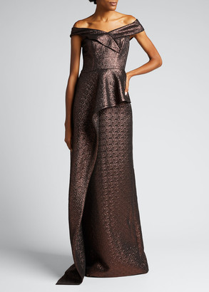 Rickie Freeman For Teri Jon Metallic Jacquard Off-the-Shoulder Asymmetric Peplum Gown