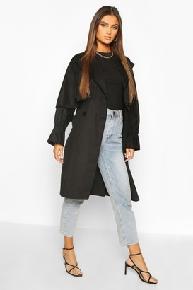 boohoo Ruched Sleeve Belted Trench Coat