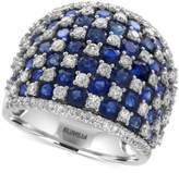 Effy Royalé Bleu by Sapphire (4-1/2 ct. t.w.) and Diamond (1-1/4 ct. t.w.) Checkerboard Statement Ring in 14k White Gold